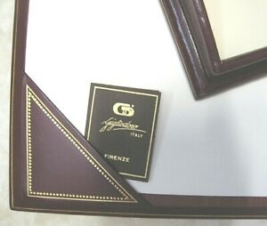Luxurious Gigliodoro Burgundy Leather Desk Set Made In Italy Retail 900