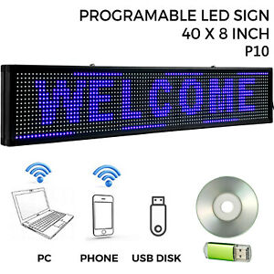 Led Sign Led Scrolling Sign 40 X 8 Blue Open Signs Massage Advertising Board