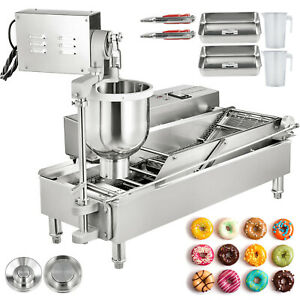 Commercial Automatic Donut Fryer Maker Machine Wide Oil Tank W 3 Sets Free Mold