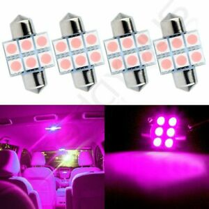 4pcs Purple 31mm Car Interior Festoon Led Lights 6 Smd 5050 Replacement Lamps