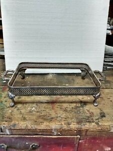 Unmarked Silver Plated Footed Serving Tray For Pyrex Dish With Handles Nice