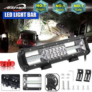 12 Inch Cree Led Work Light Bar Boat Truck Offroad Suv Driving Waterproof 12v