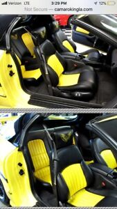 2002 Ceta Collector Edition Trans Am Ebony Black W Yellow Leather Seat Covers
