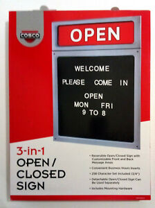 Cosco 3 in 1 Open closed Sign Letterboard Reversible 20 H X 15 W