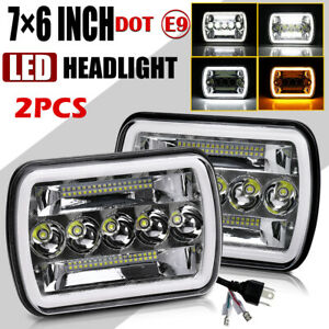 Chrome 5x7 7x6 Led Headlights For 86 1995 Jeep Wrangler Yj 1984 2001 Cherokee Xj