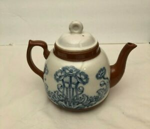 Antique Ceramic Teapot Brown And White With Blue Flowers Amazing Condition