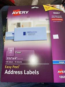 Avery Clear Easy Peel Mailing Labels Inkjet 1 1 3 X 4 140 pack 18662 Clear