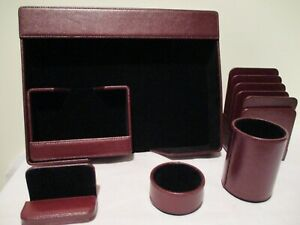 6 piece Desk Set In Rich Burgundy Leather Deflect 0 Brand
