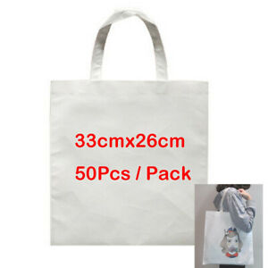 50pcs Blank Dye Sublimation Shopping Bag Small For Heat Transfer Diy Printed