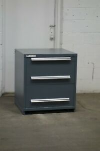 Used Stanley Vidmar 3 Drawer Cabinet 33 High Industrial Tool Storage 2141