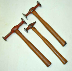 Set Of 3 New Britain Auto Body Collision Bumping Hammer Round Square Dinging Usa
