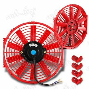 1 X 12 Red 1500 Cfm Electric Cooling Slim Push Pull Radiator Fan Universal 1
