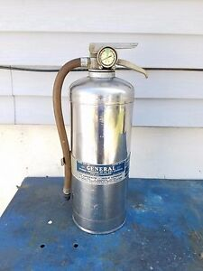 Vintage General Fire Extinguisher Co cp 20 Chrome Stainless Steel Extinguisher