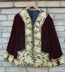 Uzbek Handmade Gold Embroidery Women S Velvet Dress Caftan Handmade Sh 2020