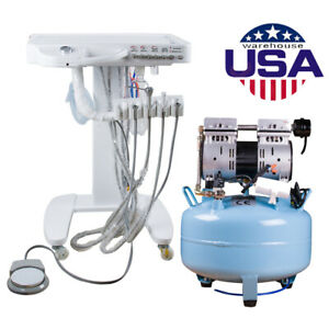 Dental Air Compressor Oilless Noiseless Equipment delivery Cart Unit Treatment