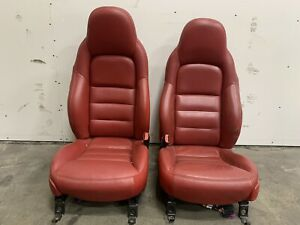 2005 Chevrolet Corvette C6 Red Leather Seats Pair Set Used