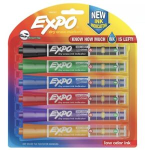 Expo Dry Erase Markers With Ink indicator 6 colors Chisel Tip Med Or Fine Lines