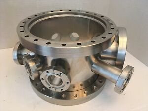 Cylindrical Multi port Vacuum Chamber W 2x10 Cffs 8 Other Smaller Cffs