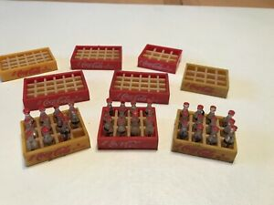Vintage Miniature Coca Cola Coke Bottles w Red & Yellow Crates Scale Model Lot
