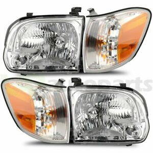 Headlights Assembly Fits 2005 2006 Toyota Tundra 2005 2007 Sequoia One Pair