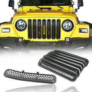 Front Grille Cover Insert Inlay Mesh Grill Trim For Jeep Wrangler 1997 2006 Tj
