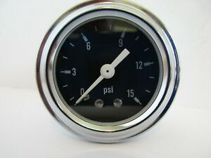 Fuel Pressure Gauge 0 15 Psi Chrome Ring With Black Face Mechanical 5715