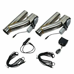 2 Pcs 3 Electric Exhaust Downpipe E Cut Out Valve One Controller Remote Kit