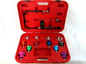 14 Pc Radiator Pump Pressure Leak Tester Checker Kit Aluminum Adapter W Case 167