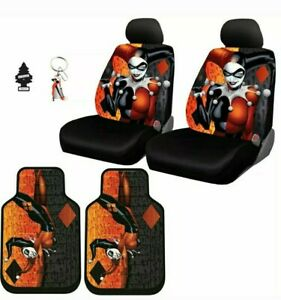 New Harley Quinn Auto Car Seat Covers Floor Mat Keychain Cover Set