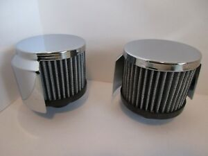 Chrome Washable Valve Cover Breather With Hood Push In Style Pair 9516 2