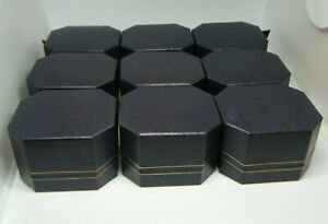 9 Lot Necklace Hinged Gift Boxes 2 1 4 X 2 X 1 1 2 Black Dark Navy Blue