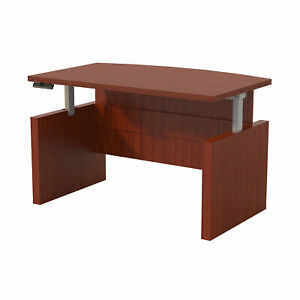 Mayline Height adjustable 72 Bow Front Desk With Base Abdh7242lcr