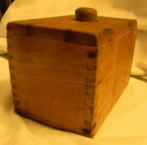 Vintage Farmhouse Wooden Butter Mold Press Box W Dovetailed Corners