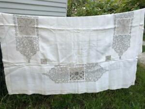 Vintage Madeira Linen Tapelace Embroidered Tablecloth Art Deco 54x57
