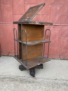 Antique Danner Style Revolving Bookcase Bookshelf Flip Top Mission Industrial