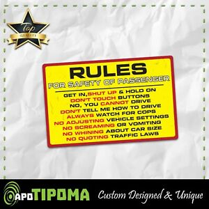 Rules Safety Sticker Decal Funny Car Truck 4x4 Offroad 4wd Dirt Jdm Race Diesel