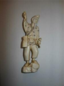 Very Rare Antique Japanese Okimono Fisherman Signed Meiji Period Figurine Statue