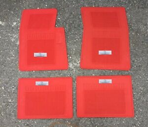 Fit For Chevy Impala Biscayne Rubber Floor Mats Red Lowrider Set Of 4 1959 69
