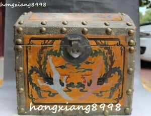 12 Chinese Wood Lacquerware Carving Fenghuang Phoenix Casket Jewelry Box Chest