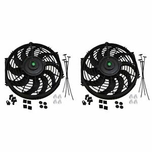 2x 12 Inch Universal Slim Fan Push Pull Electric Radiator Cooling Mount Kit 12v