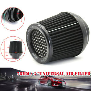Universal 3 76mm Car Air Filter Clean Intake High Flow Short Ram cold Round Cone