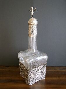 Antique German Hanau 800 Silver Overlay Etched Glass Decanter 1850 1899