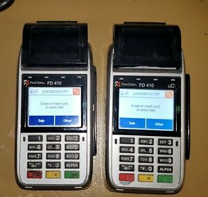 2 Unitfirst Data Fd410 Dw Emv Nfc Wireless Credit Card Machine