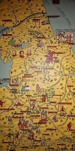 A Pictorial Chart Of English Literature Vintage Pull Down Map
