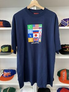 NWT Vintage Coca Cola Olympics Shirt Sz XL 90s Flag Sports Atlanta Navy