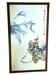 Chinese Blue White Porcelain Plaque Wood Panel 33 75 H