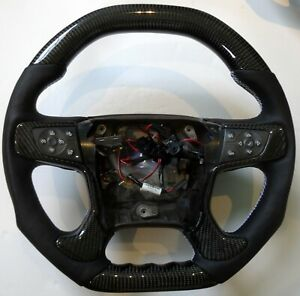 2014 Silverado Ferrari Style Real Carbon Flat Bottom Fiber Steering Wheel