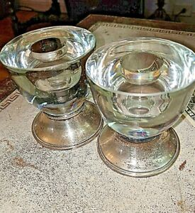 Pr Elegant Vtg Frank Whiting Sterling Silver Glass Candlesticks Candleholders