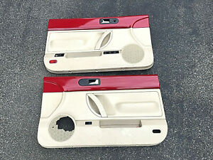 98 10 Vw Volkswagen Beetle Convertible Left Right Door Panels Set Red Tan