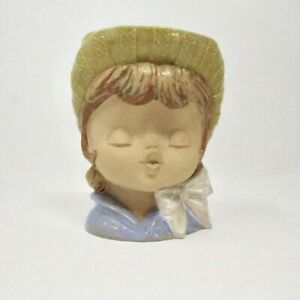 Vintage Nagoya Japan Wall Pocket Girls Head Ceramic Pottery Mid Century